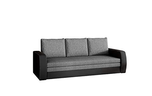 MOEBLO Sofa mit Schlaffunktion und Bettkasten, Couch für Wohnzimmer, Schlafsofa Federkern Sofagarnitur Polstersofa Wohnlandschaft mit Bettfunktion - SYLVIANO (Dunkelgrau+Schwarz(Sawana 05+Soft 11))