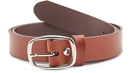 Merry Style Cintura Donna in 100% Vera Pelle D41 (Marrone, 90 cm (Lunghezza totale 109 cm))