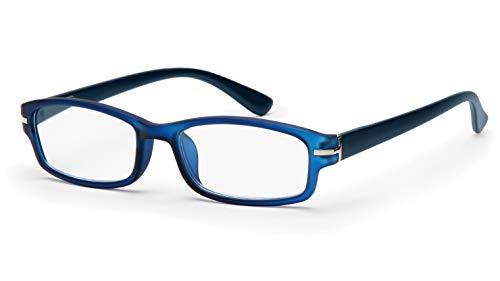 Filtral Hochwertige eckige Lesebrille aus Kunststoff/Vollrand mit Federbügel in blau, 2,00 dpt. F4540856