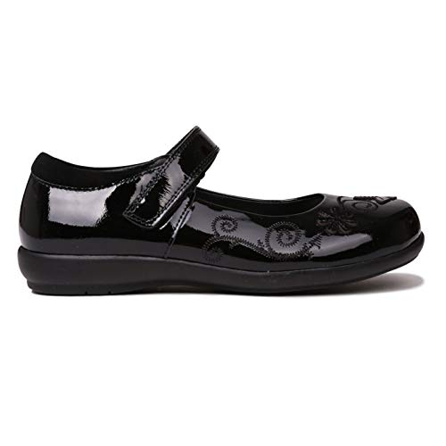Kangol Ribston Niñas Zapatillas Casuales Merceditas Bordados Negro/Charol EUR 30,5