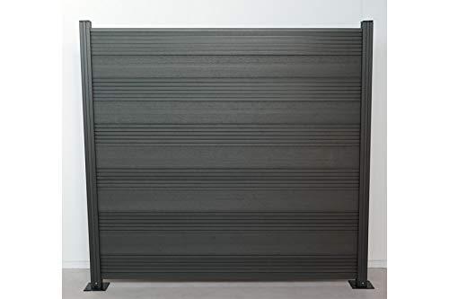 Komplettset WPC Zaun/Sichtschutz/Steckzaun, anthrazit 1850 mm (Höhe) x 20 mm (Stärke) x 1800 (Breite) mm, Zaunhöhe inkl. Start und Abschlussprofil (Serie WoodoTexel)