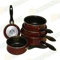 Série de 5 casseroles grande capacité émail pro rouge