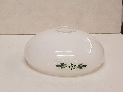 Glas Lampenschirm 210mm Ersatzglas Schale weiß mit Muster Blumen E27 Lochmaß Fassung ø 42mm weiß grün