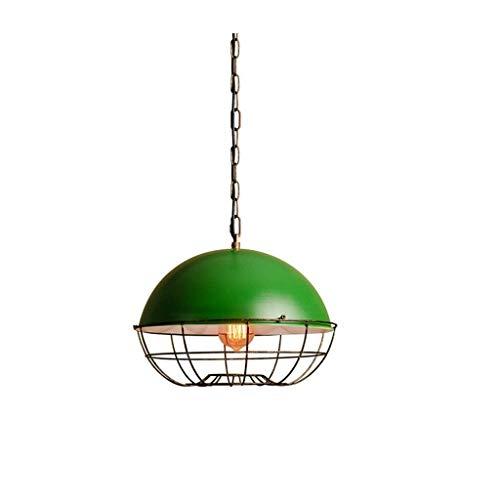 JIAHONG Araña Luces pendientes, Hierro retro de la lámpara verde, Cafetería Bar Casa de la piscina de las luces de la lámpara, iluminación Personalidad vivo creativo de luz ambiental, verde