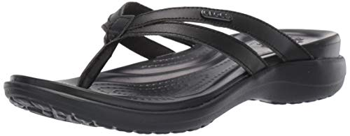 Crocs Women's Capri Basic Strappy Flip Flop, Black, 9 M US