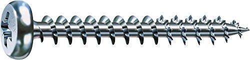 SPAX Universalschraube, 5,0 x 45 mm, 200 Stück, Kreuzschlitz Z2, Halbrundkopf, Vollgewinde, 4CUT, WIROX A3J, blank verzinkt, 0231010500455