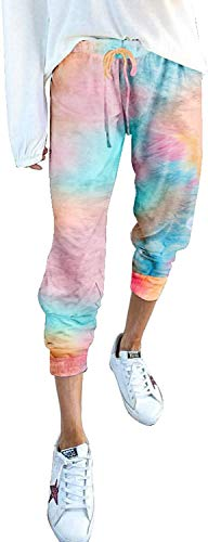 Huazong Batik-Hose für Damen, bedruckte Hose mit Kordelzug-Taschen, hohe Taille, Sport-Hose, Leggings, Casual, Workout, Laufen, Fitnessstudio, Jogging Gr. XL, seeblau