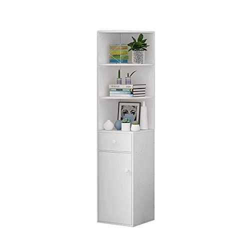 Living Room Tall Bookcase White Wood Corner Floor-standing Slim Sideboard Bathroom Cabinet Storage Cupboard with Door and 3 Shelves Bathroom Unit Storage Display Cabinet for Small Narrow Space