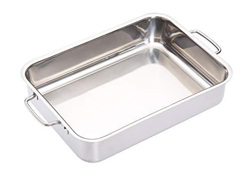 MasterClass Głęboka puszka do pieczenia ze stali nierdzewnej ze składanymi uchwytami i designem kompatybilnym z kuchenką, 32 x 23 x 6,5 cm