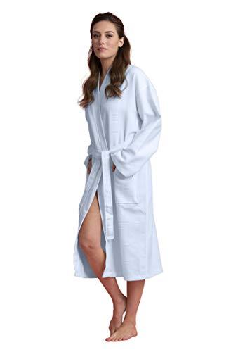 Soft Touch Linen Bata de baño de algodón de lujo para mujer, larga, ligera, absorbente, Azul claro, S
