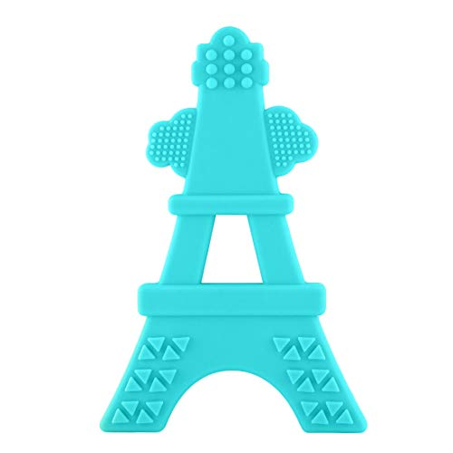 EZTOTZ Silicone Teether Made in USA Tower Teether Multi-Textured Soft Food Grade Silicone Great for Teething - BPA Free and Freezer Safe (Teal)