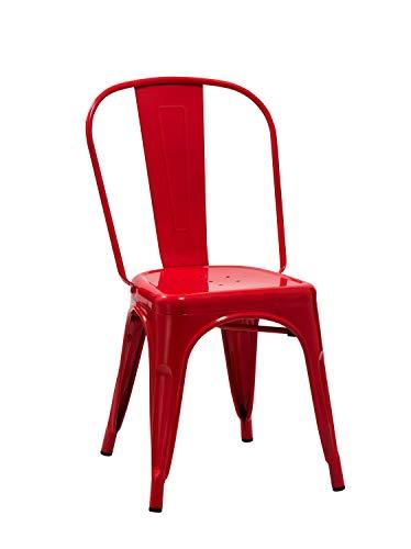 Duhome 1x Esszimmerstuhl/Stuhl aus Metall/Eisen Farbauswahl Küchenstuhl Stapelbar, Robust & Zeitlos 666, Farbe:Rot, Material:Metall
