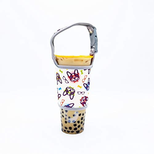 Bubble Tea Cup Carrier (2-Pack), Holder for Travel Coffee Cups, Mugs, Quality Neoprene Pouch, Insulated Sleeves, Frenchie Design. Fit most 30oz sized Cups (Frenchie)