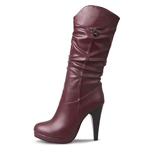 Vimisaoi Damen Mode High Heel Mid Wade Stiefel Concise Slouchy Western Boots Stiletto Kleid Stiefel, Rot - weinrot - Größe: 39 EU