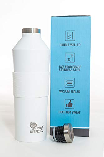 25oz Wine Growler & Water Bottle 750ml Stainless Steel Leak Proof Wine Flask Double Wall Insulated Wine Bottle Wide Mouth Wine Canteen Comes with a Silicone Grip
