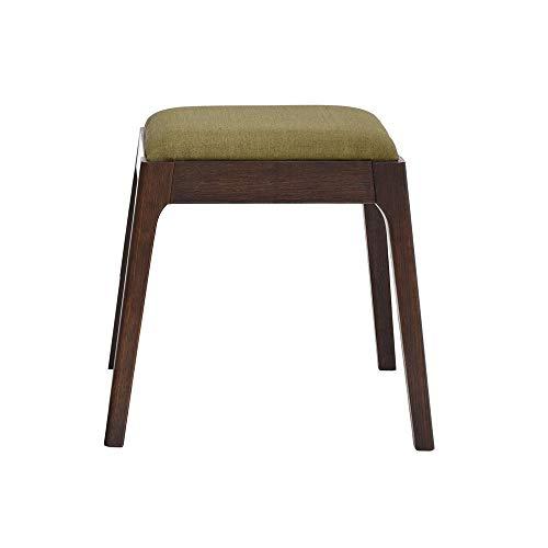 XZPENG Massivholz-Make-up Hocker, Gewebe-Quadrat-Hocker, einfache moderne Sofa Sitzbank, Japanische Eiche Dressing Hocker, Baumwolle und Leinen Hocker, einfache Form, 2 Farben erhältlich Größe: 43x37x