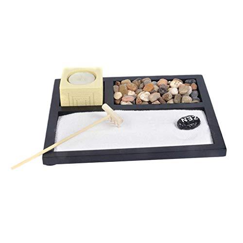 Tubayia Juego de portavelas de jardín Zen para meditación, decoración para salón, oficina