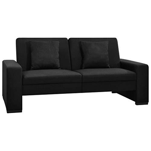 UnfadeMemory - Divano letto in tessuto, divano con seduta e cuscino in legno, colore: nero