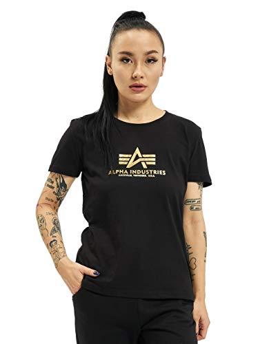 ALPHA INDUSTRIES Camiseta básica para mujer con estampado Foil Print, negro/amarillo dorado Negro y amarillo. XS