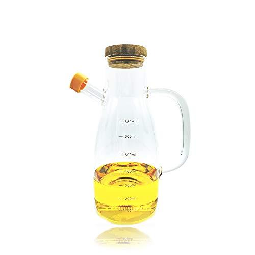 Alyssa Olivenöl Spender Flasche, Bleifreier Glas-Ölspender, Essig und Öl Spender mit Ergonomischem Griff, Staub- und Auslaufsicher Küchengerä