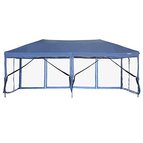 VINGLI 10' x 20' Pop Up Canopy Tent Mesh Sidewalls, Anti-Mosquito Screen Houses,Instant Setup Gazebos, 6 Translucent Sides Doors Sturdier Frame Anti-UV, Heavy Duty Wheeled Carrying Bag,Blue