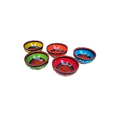Cactus Canyon Ceramics Terracotta Super Mini-bowl Set of 5 - Hand Painted From Spain