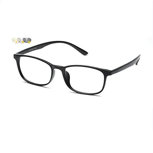 LGQ Gafas de Lectura para Mujer de Moda, Gafas HD multifocales progresivas para Personas Mayores, Gafas de Sol fotocromáticas para Exteriores, dioptrías +1,00 a +3,00,Bright Black,+2.50