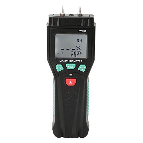 Oumefar Holzfeuchtemessgerät Hochempfindlicher Sensortester Standard-LCD-Display-Feuchtedetektor Digital für Bambuspapier mit Holz 2% - 70% rF