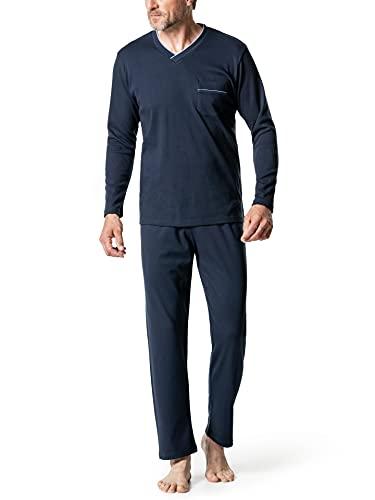 Walbusch Herren Wohlfühl Schlafanzug Easycare einfarbig Marine 54