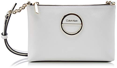 Calvin Klein - Disc Ew Crossbody, Bolsos bandolera Mujer, Blanco (White), 1x1x1 cm (W x H L)