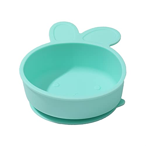 Baby Rice Bowl Food Grade Silicone Cartoon Rabbit Baby Suction Bowl Non-Slip Dinner Plate (Color : Green)