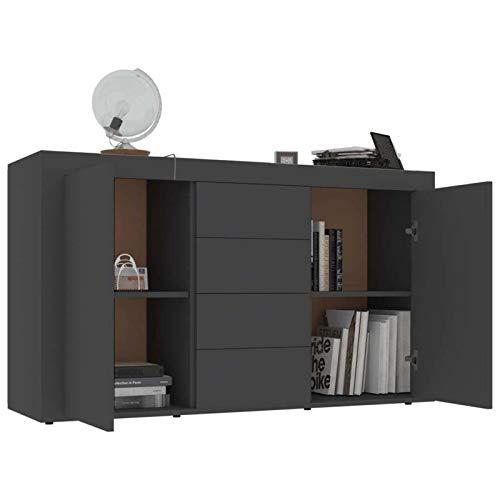 Bassette Aparador del gabinete de Almacenamiento con 2 Puertas y salón de Cocina de Cocina con aglomerado de 4 cajones 120 x 36 x 69 cm (Color : Grey)