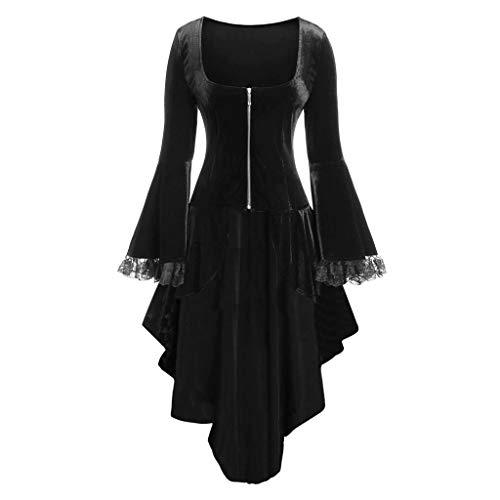 Preisvergleich Produktbild Halloween Kleid Damen, Patchwork Spitzekleider-Schöne Minikleid mit Reißverschluss-Abendkleider Knielang Unregelmäßig-Party Kleid-Gothic Kleider URIBAKY