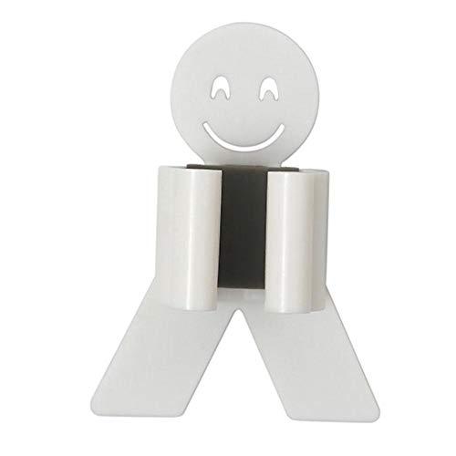 Matefielduk Colgador de Escobas y Fregonas,Soporte Fregona Pared Adhesivo,Colgador de Escobas Adhesivo de Sonriente Plástico,Utilizado para Baño y Cocina(8 * 2.5 * 3 mm)