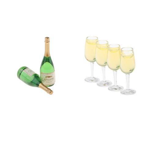 B Blesiya 6 TLG. Miniatur Wein Flaschen Set 1:12 Puppenhaus Weinflaschen Glasflaschen für Champagner Getränke Alkohol