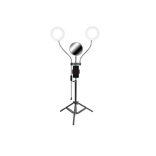 Helele Led-ringlicht, dimbaar, 3 kleuren, dubbele armen, ringlamp met lichtstatief, mobiele telefoonhouder en buighouder voor YouTube, video's, fotografies, make-up, portret, Vlog, selfie