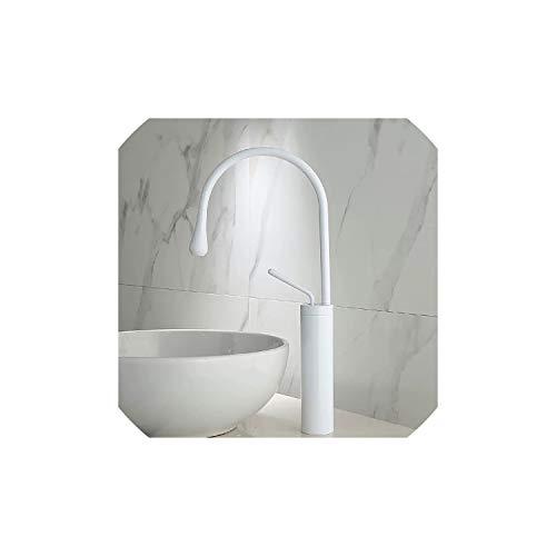Cuenca del grifo del lavabo del oro blanco Grifo de cocina baño grifo mezclador monomando grifo de la Cuenca del Negro, Blanco Alta