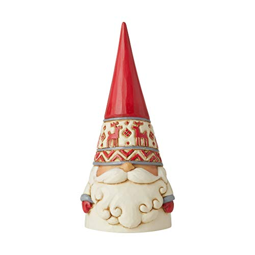Enesco Jim Shore Heartwood Creek Nordic Noel Reindeer Hat Gnome Wonders at Work Figurine, 2.17'H, Dirty White, Red, Gray