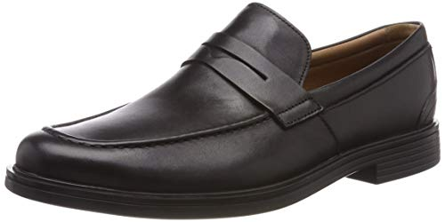 Clarks Un Aldric Step, Mocasines para Hombre, Negro (Black Leather-), 41 EU