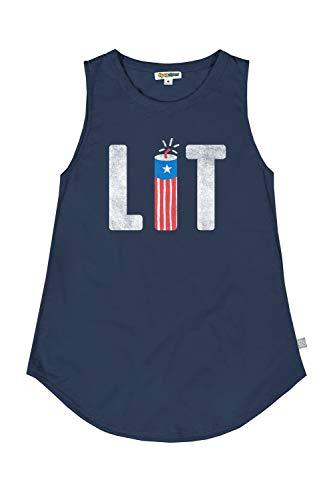 Tipsy Elves Women s Navy Lit Tank Top - USA Patriotic Shirt: XL