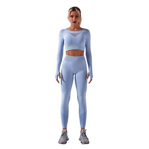 Whitzard Conjunto de entrenamiento de 2 piezas para mujer, manga larga, sin costuras, para gimnasio, con top corto y pantalones cortos de yoga, Pantalón-Azul Claro, S