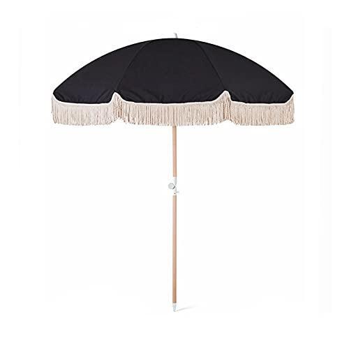 YIZHIYA Sombrilla de Jardín, Paraguas de Patio inclinable con Borla de Poste de Madera Negra, Parasol al Aire Libre Plegable a Prueba de Lluvia a Prueba de Viento, Sombrillas Decorativas