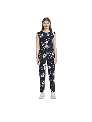 TOM TAILOR Denim Damen Jumpsuit Overalls, 22574-navy Blue Flower pri, M