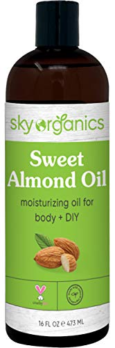 Sweet Almond Oil by Sky Organics (Large 16oz) Pure Cold-Pressed Almond Face Oil Moisturizing Oil for Body Skin & Hair