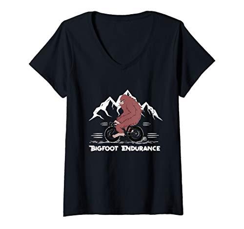 Womens Bigfoot Mountain Bike Cycling V-Neck T-Shirt