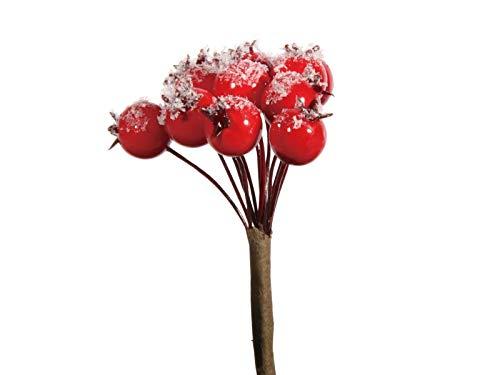 Winterliche Kunstpflanze – 6x Hagebutten Bund am Draht rot – Höhe 12/15cm