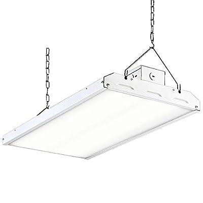 Hykolity LED High Bay Shop Light, 2FT Linear LED Industrial Workshop Light, Warehouse Aisle Area Light 5000K Daylight, 4 Lamp Fluorescent Equivalent, 1-10V Dim, UL, DLC Complied