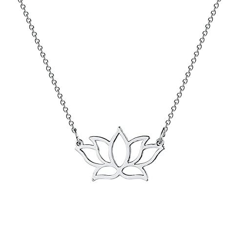HDZW Collar con Colgante de Loto Delicado Chapado en Oro de 18 Quilates Collar con Colgante de Flor de Loto pequeño para Mujer