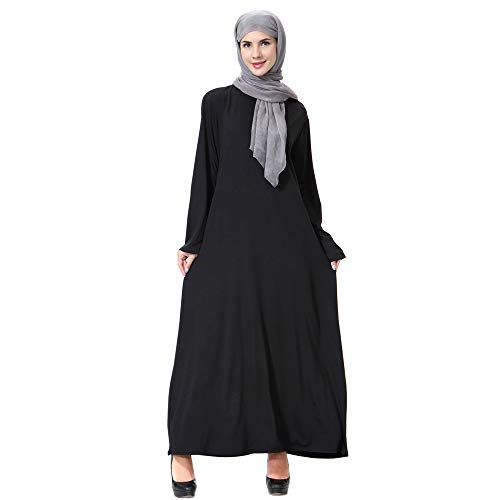 Amphia Muslimische Kleidung Frauen Muslim Abaya Dubai Kleider Islamischen Hochzeitskleid Kleid Kaftan Rayon Gewand (Schwarz, M)