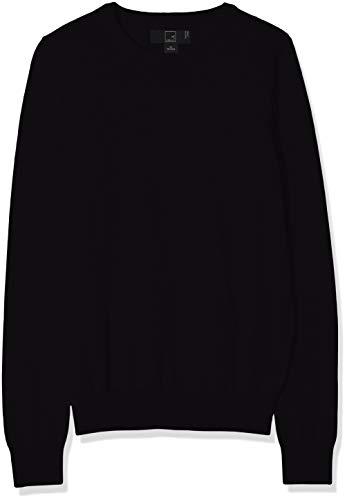 Amazon-Marke: MERAKI Baumwoll-Pullover Damen mit Rundhals, Schwarz (Black), 38, Label: M